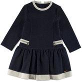 Pili Carrera Long-Sleeve Smocked Pique Jersey Dress, Navy, Size 4-6