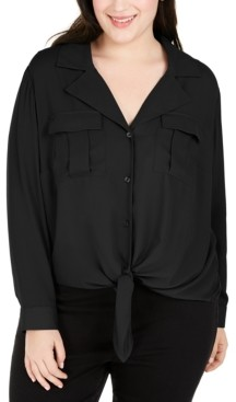 INC International Concepts Inc Plus Size Tie-Front Blouse, Created for Macy's