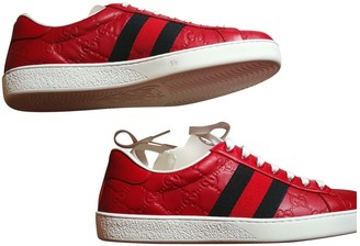 Gucci Ace Red Leather Trainers