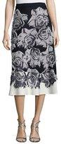 St. John Nadia Rose-Print Flared Midi Skirt, Frost/Navy