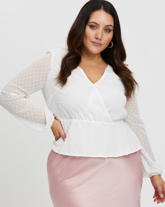 You & All Swiss Dot Wrap Front Top