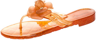 Chanel Orange Glitter Jelly Camellia Thong Flat Sandals Size 39