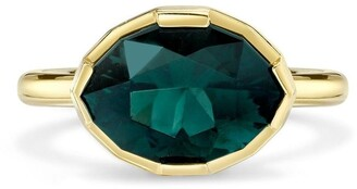 Andy Lif 18kt Yellow Gold Precision Cut Modified Marquise Sea Foam Tourmaline And Diamond Ring