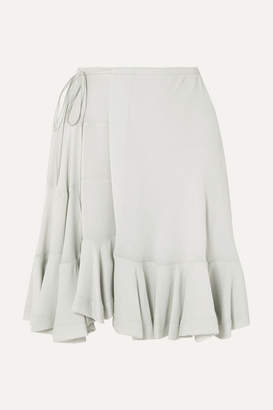 Chloé Ruffled Crepe Wrap Mini Skirt - Mint
