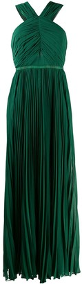 Self-Portrait Pleated Halter Neck Gown