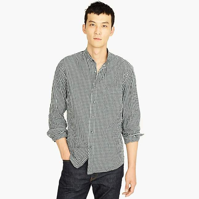 J.Crew Untucked stretch Secret Wash band-collar shirt in brown-and-navy gingham