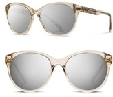 Shwood Women's 'Madison Flower' 54Mm Polarized Round Sunglasses - Champagne/ Flower/ Silver
