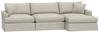 Pottery Barn Sullivan Fin Arm Deep Seat Slipcovered Sofa with Chaise Sectional