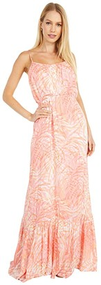 BB Dakota Islands N The Stream 'Paradise Island' Rayon Twill Maxi Dress (Sunkiss Coral) Women's Dress
