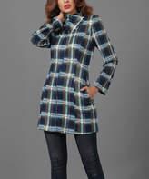Reborn Collection Women's Tunics Navy - Navy & Blue Plaid Wrap Shawl-Collar Tunic - Women & Plus