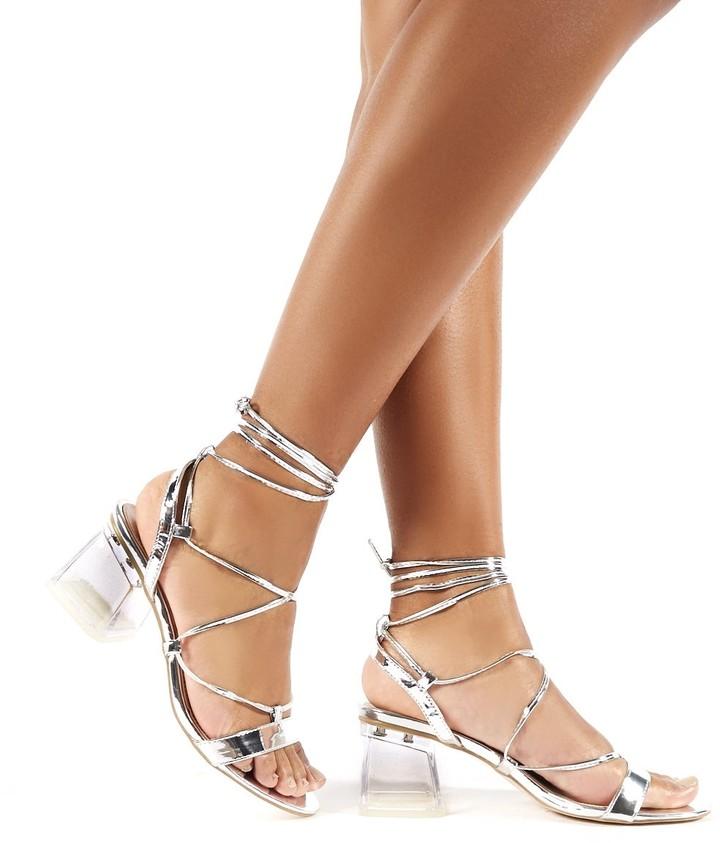Public Desire Kiwi Lace Up Perspex Block Heels