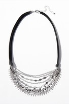 Dynamite Multi-Chain Faux Leather Statement Necklace