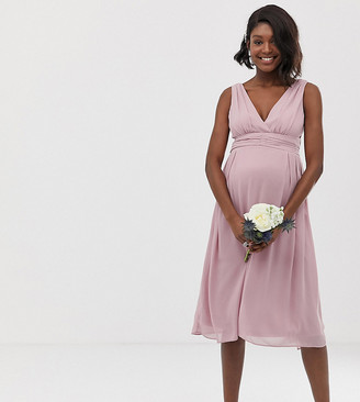 TFNC Maternity bridesmaid exclusive wrap front midi dress with tie back in pink