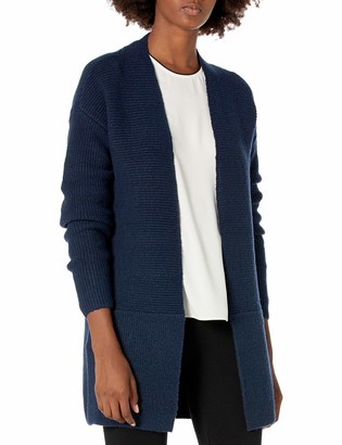 Lark & Ro Women's Boucle Relaxed Fit Ribbed Long Sleeve Open Front Cardigan