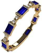 Nana Silver Stackable Ring Baguette Cut Yellow Gold Plated - Size 7 - Simulated Sapphire - Sept. Birthstone