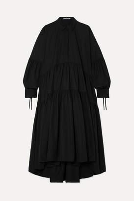 Cecilie Bahnsen - Cleo Tiered Ruched Cotton-poplin Maxi Dress - Black