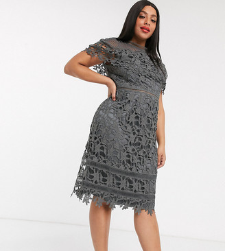 Chi Chi London Plus high neck lace pencil midi dress in charcoal-Grey