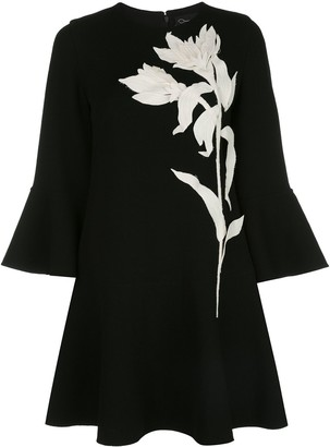 Oscar de la Renta Applique Flouncy Shift Dress