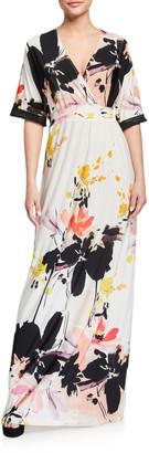 Melissa Masse Obi Abstract Luxe Jersey Maxi Dress