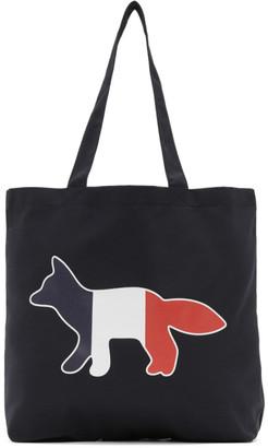MAISON KITSUNÉ Navy Tricolor Fox Tote