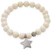 Agate Bead & 0.93 Total Ct. Champagne Diamond Star Charm Bracelet