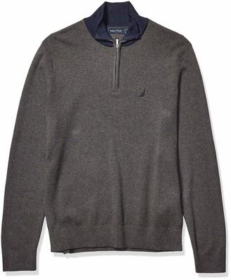 Nautica Men's Half Milano Zip with Contrast Trimming Sweater