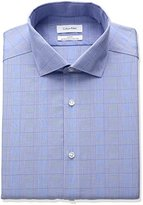 Calvin Klein Men's Non Iron Slim Fit Printed Stripe Point Collar Dress Shirt