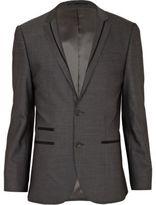 River Island MensGrey contrast wool-blend slim suit jacket