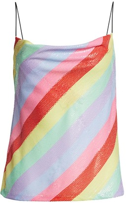 Olivia Rubin Sequin Rainbow Cowl Top
