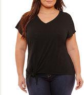 Boutique + + Short Sleeve Tie Front T-Shirt-Womens Plus