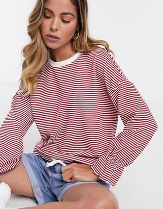 JDY bella stripe long sleeve top in red stripe