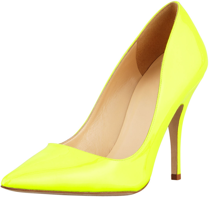 Kate Spade Licorice Patent Pointed-Toe Pump, Yellow