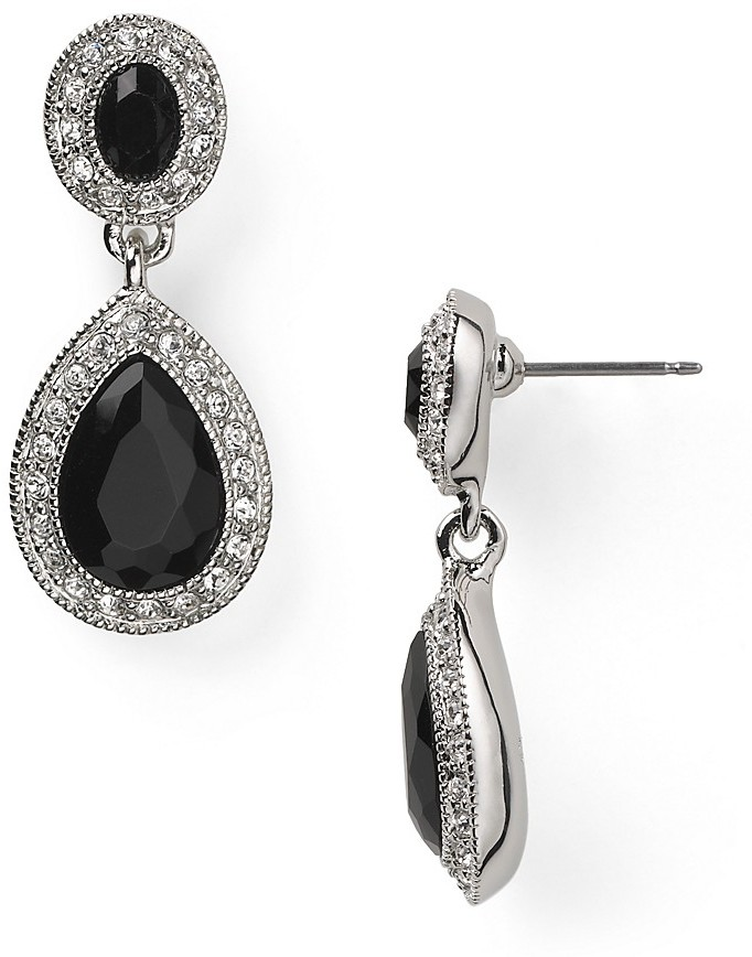 Carolee Simply Jet Pave Stone Double Drop Earrings