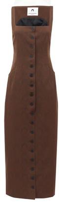 Marine Serre Crescent Moon-jacquard Wool-blend Dress - Brown