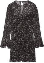 Theory Marah Printed Silk-chiffon Mini Dress - Black