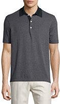 Billy Reid Striped Short-Sleeve Pique Polo Shirt, Navy
