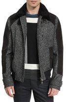 Salvatore Ferragamo Tweed & Leather Bomber Jacket w/Shearling Trim