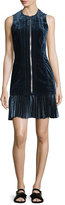 3.1 Phillip Lim Sleeveless Paneled Velvet Dress, Sapphire
