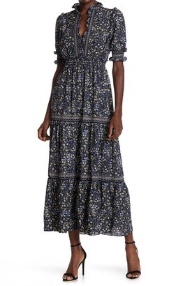 Max Studio Elbow Length Sleeve Print Tiered Maxi Dress