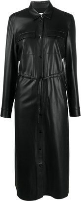HUGO BOSS Faux Leather Shirt Dress