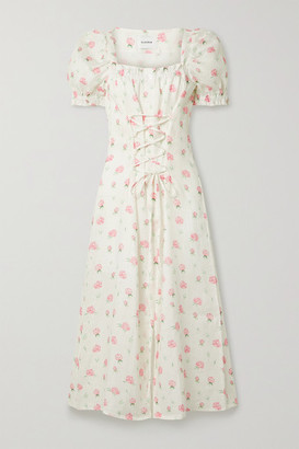 Sleeper Marquise Lace-up Floral-print Linen Midi Dress - Pink
