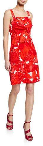Trina Turk Lani Printed Twist-Front Sleeveless Sheath Dress