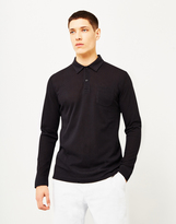 Sunspel Long Sleeve Riviera Polo Shirt Black