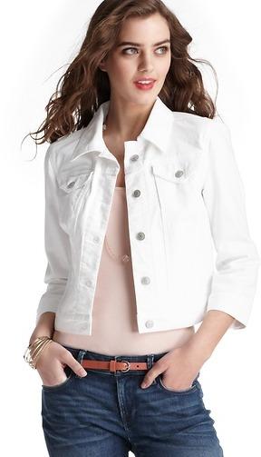 LOFT Petite Cropped White Denim Jacket