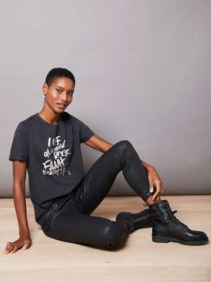Mint Velvet Grey Foil Rock Slogan T-shirt