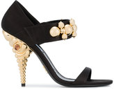Prada Open Toe Satin Sandals with Gold Heel and Decorated Strap