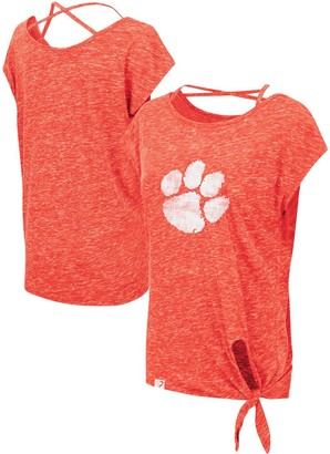 Colosseum Women's Orange Clemson Tigers Como Speckle Yarn Tie Front T-Shirt