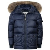 Pyrenex PyrenexNavy Authentic Down Padded Coat With Fur Trim