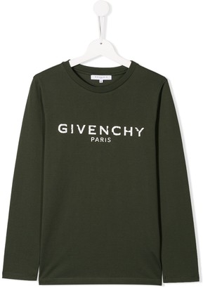 Givenchy Kids TEEN distressed logo top