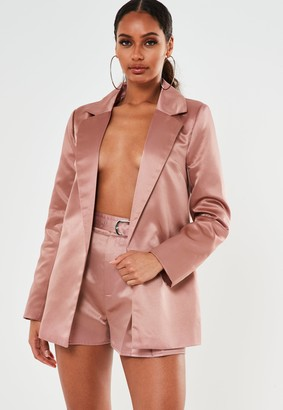 Missguided Pink Co Ord Satin Tailored Shorts